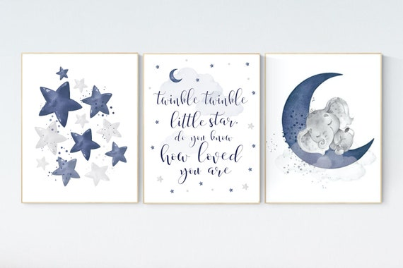 Nursery decor boy, navy nursery decor, moon and stars, twinkle twinkle little star, navy blue nursery art, baby boy nursery art, raindrops