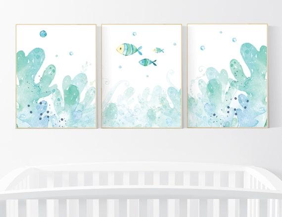 Under the sea wall art, Ocean nursery decor, Nautical nursery print set, under the sea nursery, gender neutral nursery, ocean, nautical
