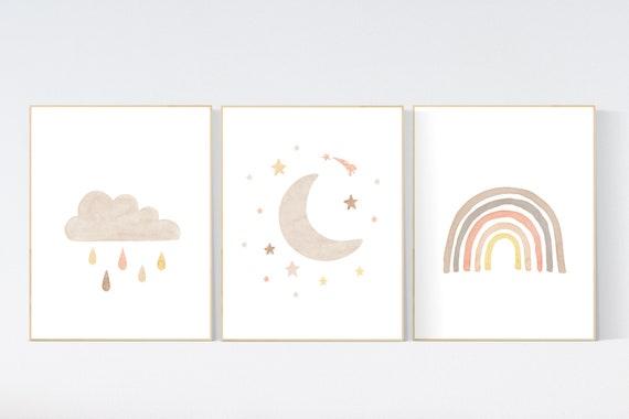 Nursery decor rainbow, neutral Rainbow Wall Art, rainbow Print Set, Cloud Rainbow moon, Rainbow Wall Art, gender neutral, Watercolor Rainbow
