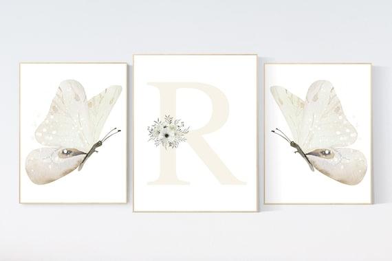 Nursery decor girl butterflies, cream, Butterfly Nursery Art, Girl Nursery Art, beige, Butterfly Nursery Decor for Baby Girl, floral nursery
