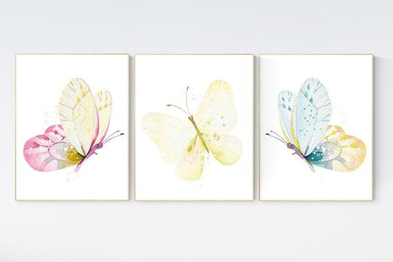 Nursery decor girl butterfly, nursery decor yellow, nursery decor girl yellow, Butterfly Nursery Art, Girl Nursery Art, Butterfly Wall Art