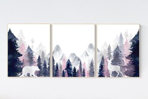 Nursery decor woodland, mountain wall art, tree nursery decor, adventure theme nursery, forest, navy, blush woodland animals, forest
