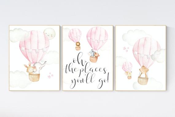 Hot air balloon nursery, nursery decor, woodland animals, pink nursery decor, elephant, bunny, giraffe, baby bear, pink nursery print