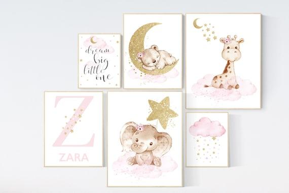 Nursery decor girl, Nursery decor elephant, baby room decor girl gold and pink, gold nursery art, cloud stars nursery, dream big little one