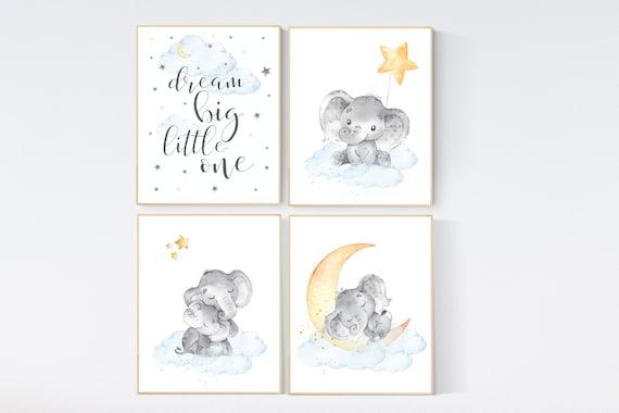 Nursery decor gender neutral, elephant prints, nursery wall decor, dream big little one, gender neutral, blue yellow, animal prints