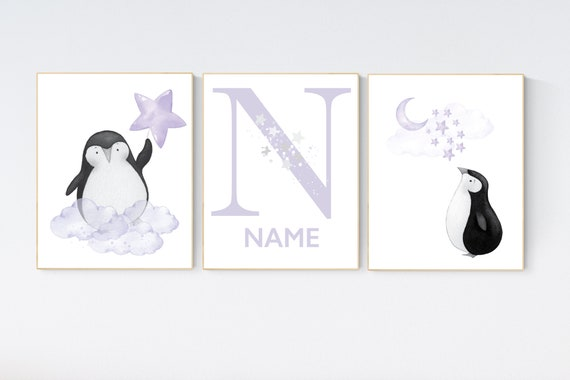 Penguin nursery, purple nursery art, baby room wall art, arctic themed nursery, arctic animals, lilac, lavender, nursery prints girl, art