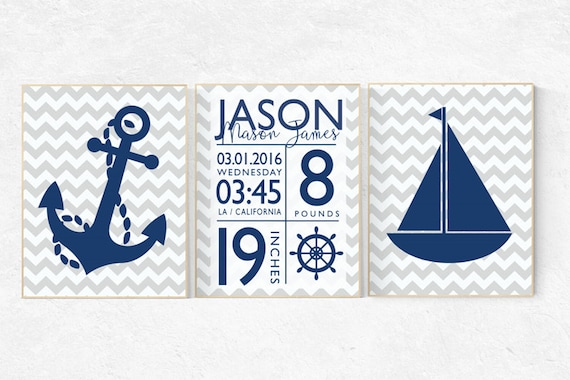 Nautical nursery prints, baby birth stats, Nautical decor, navy gray nursery, navy nursery decor, set of 3, name sign, Birth announcement