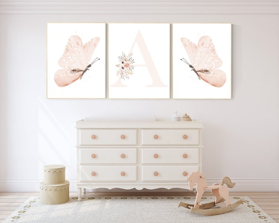 Nursery decor girl butterflies, blush, peach, Butterfly Nursery Art, Girl Nursery Art, Butterfly Nursery Decor for Baby Girl, floral nursery