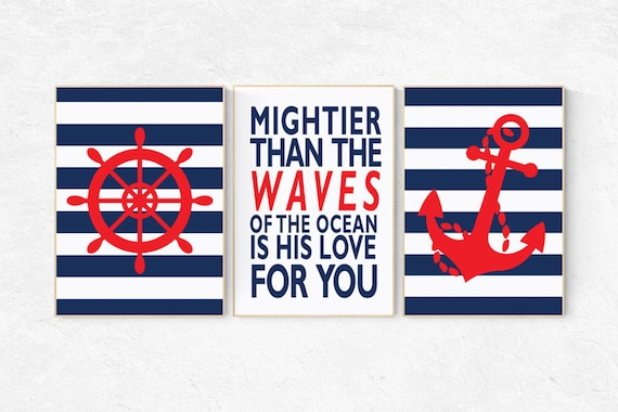 Nautical boy nursery, mightier than the waves, nautical baby room, Nautical Nursery Art, Navy red Nursery Decor, navy nursery, nautical kid