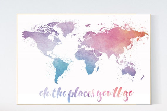 Oh the places you'll go, World Map poster, world map wall art, nursery wall art, toddler room, neutral gender kid room decor playrooom decor