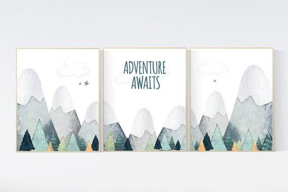 CANVAS LISTING: Nursery decor boy mountain, adventure nursery, adventure theme nursery, woodland, gender neutral, adventure awaits