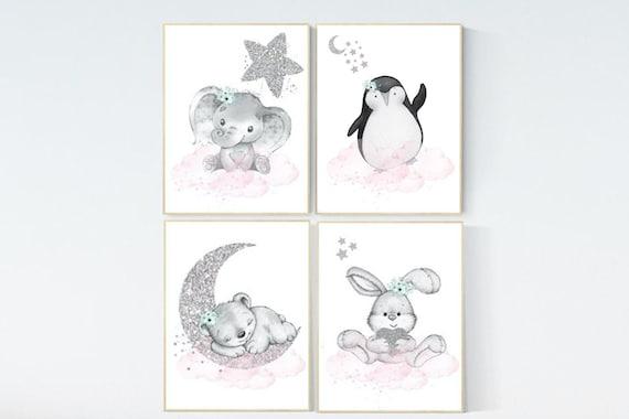 Animal nursery for girls, pink mint and silver, Nursery decor girl elephant, animal nursery, bunny print, bear nursery penguin baby room art