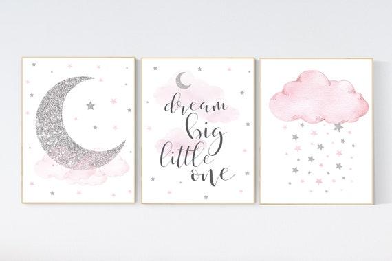 Nursery wall art girl, pink and silver nursery, cloud, stars, pink nursery art, cloud and stars, baby room decor for girls