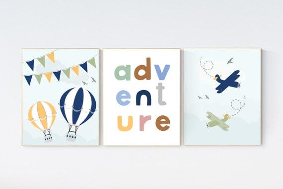 Adventure nursery decor, Nursery decor boy mountains adventure, nursery decor boy airplane, world map nursery, adventure, navy yellow
