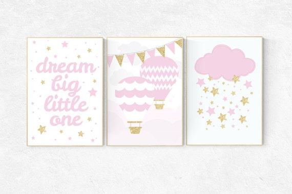 Pink gold nursery, dream big little one, pink and gold nursery, hot air balloon nursery, nursery decor girl pink, girls room decor pink gold