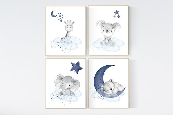 Nursery decor animals, elephant, giraffe, koala, bear, bunny, animal nursery prints, navy blue, baby room wall decor, animal prints
