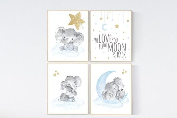 Nursery decor boy elephant, blue and gold nursery, blue nursery wall art, cloud and stars, baby room decor, blue gold nursery art