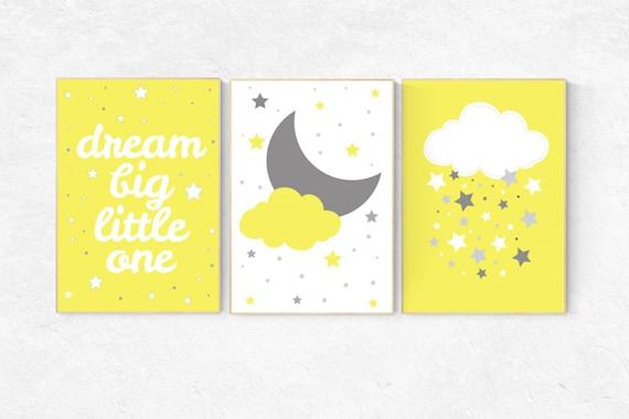 Yellow gray nursery decor, dream Big little one, Yellow nursery decor, playroom decor, gender neutral nursery decor, baby shower, kids room