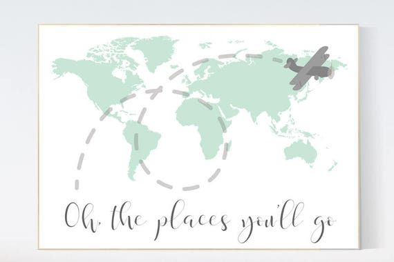 Mint nursery decor, Oh the places you'll go, World Map wall art, world map nursery, world map wall art, gender neutral nursery decor, mint