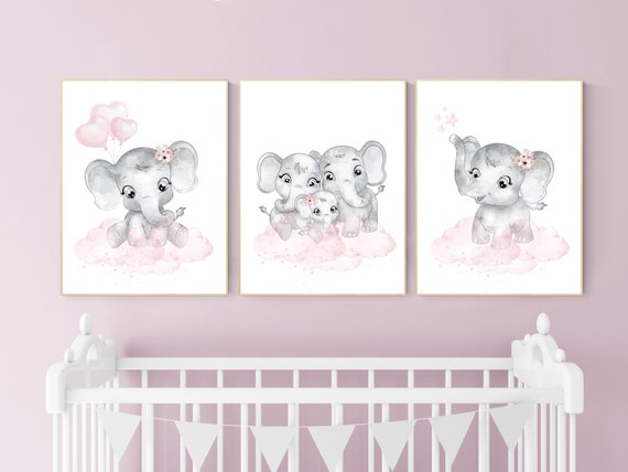 Nursery decor girl pink and gray, Elephant nursery wall art, girl nursery ideas, pink grey nursery wall decor, nursery prints girl