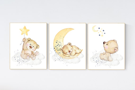 Nursery decor bear, gender neutral nursery wall art, yellow navy nursery, bear nursery print, teddy bear decor, nursery wall art animals