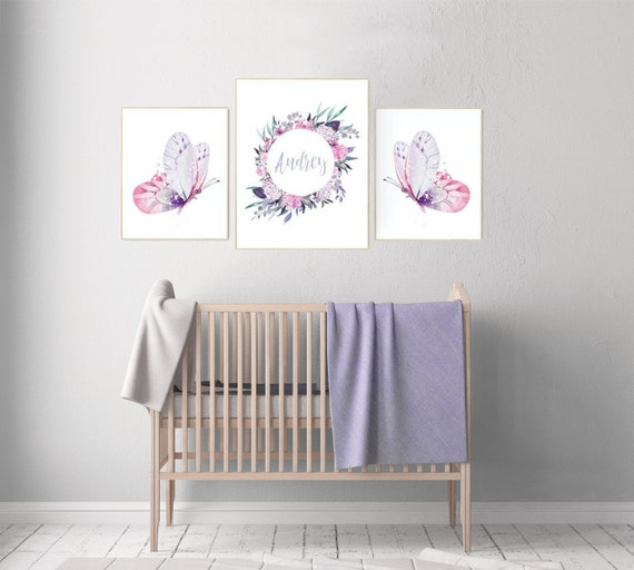 Nursery decor girl butterfly, pink and purple nursery, pink lilac nursery, girl room prints, baby girl nursery wall art butterfly wall art