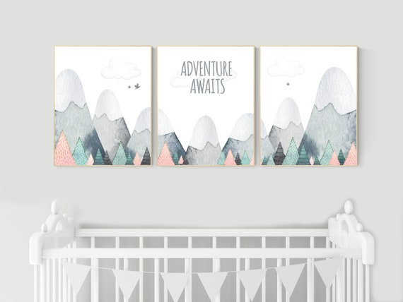 Nursery decor mountain, mountain nursery, adventure nursery, adventure theme nursery, woodland, gender neutral, adventure awaits, forest