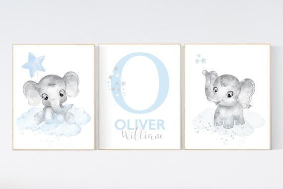 Nursery decor boy elephant, nursery wall art elephant, baby room decor boy, cloud and stars, Elephant Nursery Art, Baby Boy Nursery Art