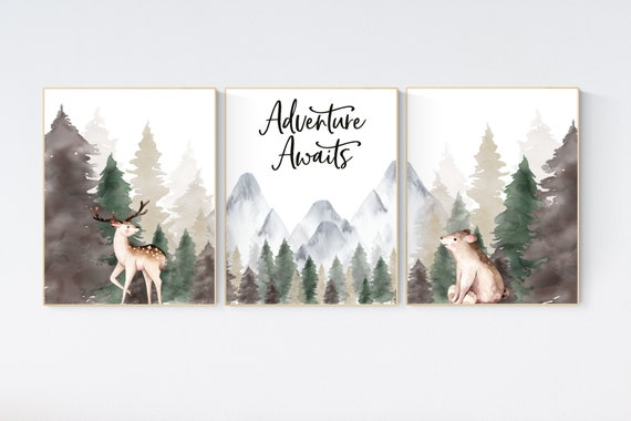 Woodland Nursery Prints, Mountain Print, sage nursery, nursery decor boy mountain, adventure theme nursery, forest, woodland animals