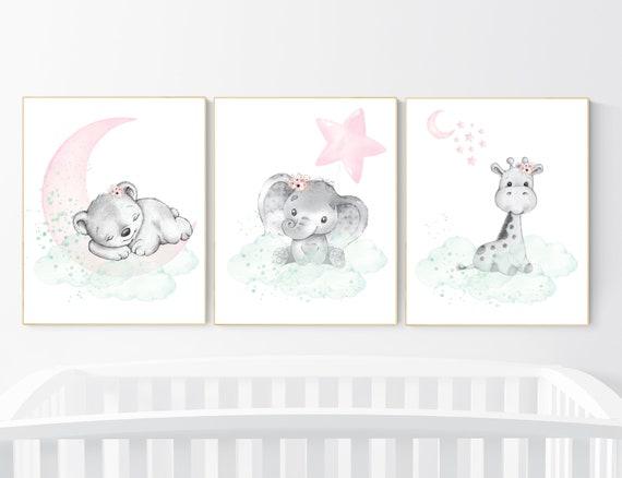 Nursery decor girl pink mint, Nursery wall art girl elephant, pink and mint, moon, stars, nursery prints, baby room decor, girl nursery