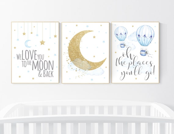 Nursery decor boy elephant, blue and gold nursery, twinkle twinkle little star, blue nursery wall art, cloud and stars, baby room decor