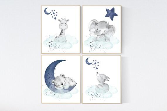 CANVAS LISTING: Nursery decor elephant and giraffe, animal nursery prints, navy nursery, navy teal nursery, baby room wall art