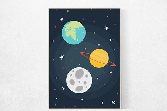 Space nursery decor, outer space nursery wall art, nursery set, kids room decor baby boy space themed nursery prints kid room playroom decor