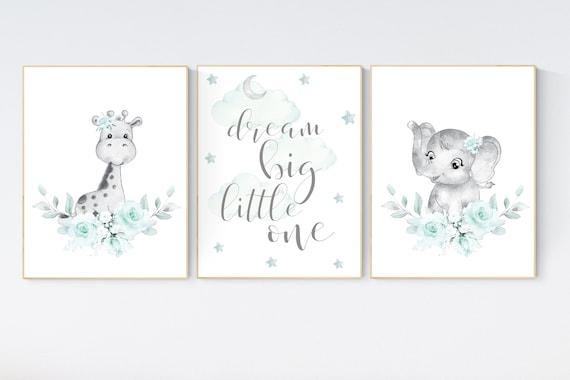 Nursery decor girl boho, turquoise nursery, giraffe, elephant, Floral jungle animals, turquoise, flower nursery prints, animal prints