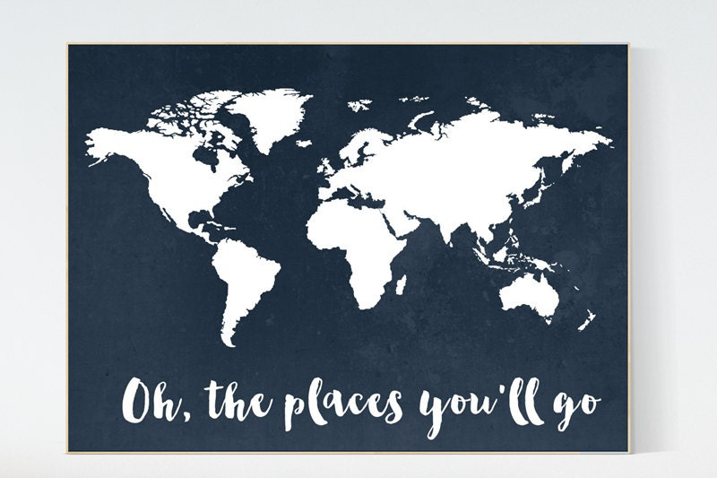 Navy World Map Print Oh The Places You Ll Go Nursery Print Kid S