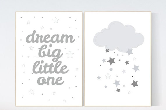 Dream big little one, Nursery Wall Art, nursery decor, gender neutral nursery, grey, gray nursery decor, kids room, twin nursery decor
