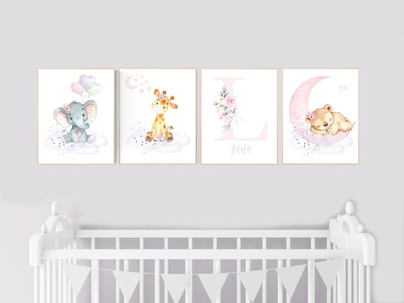 Nursery decor floral jungle, nursery decor animals, Nursery wall art girl elephant, giraffe, bear, pink, purple, girl nursery wall decor