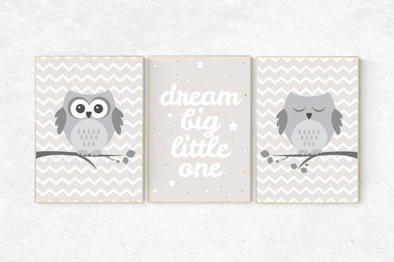 Owl nursery decor, Dream Big Little One, gender neutral nursery, beige and cream, Nursery Decor, Gray Beige gender neutral baby shower