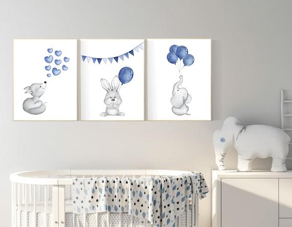Navy nursery art, navy blue, Nursery decor boy, elephant, bunny, hippo, Baby Animal Nursery Art, Woodland animals, Nursery Prints, baby boy
