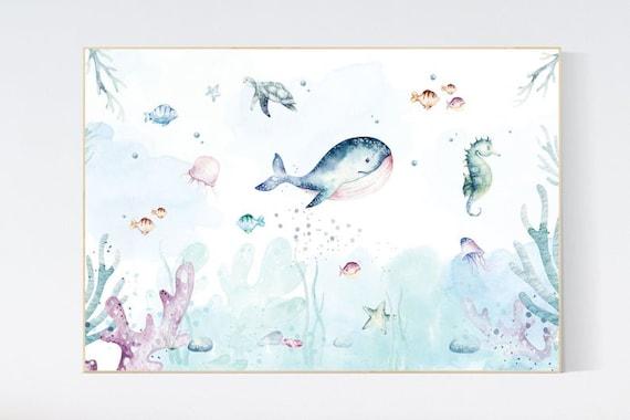 Canvas Listing: Nursery decor boy ocean, Ocean nursery decor, Under the sea nursery, sea nursery, gender neutral, ocean, nautical