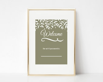 Welcome wifi printable for guests - White