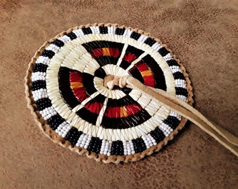 Quilled Disk, porcupine quills, quilled rosette, dance outfit decoration