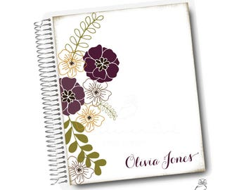 Plum Florals, Personalized Address Book