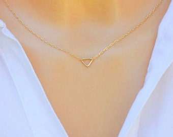 Triangle necklace - Triangle Choker Necklace - silver choker necklace