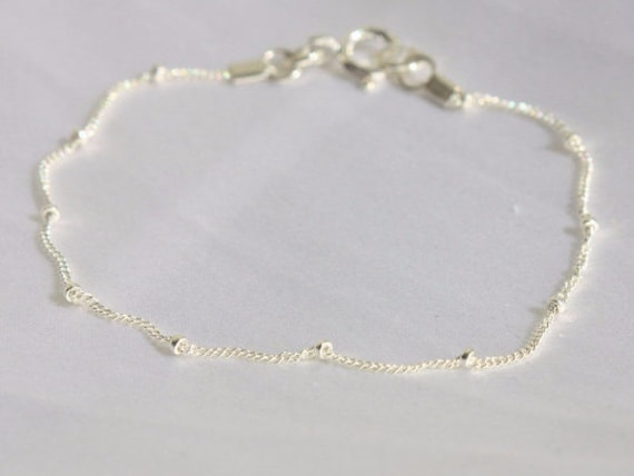Boho Chic Star Charm Anklet gift for her Gift for Girls holiday gift Sterling Silver Beaded Anklet