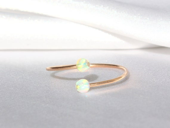 White Opal Ring Twist Ring Minimalist Ring Gold Opal Rings Gold Filled Ring Stacking Rings Boho Ring. Open Ring