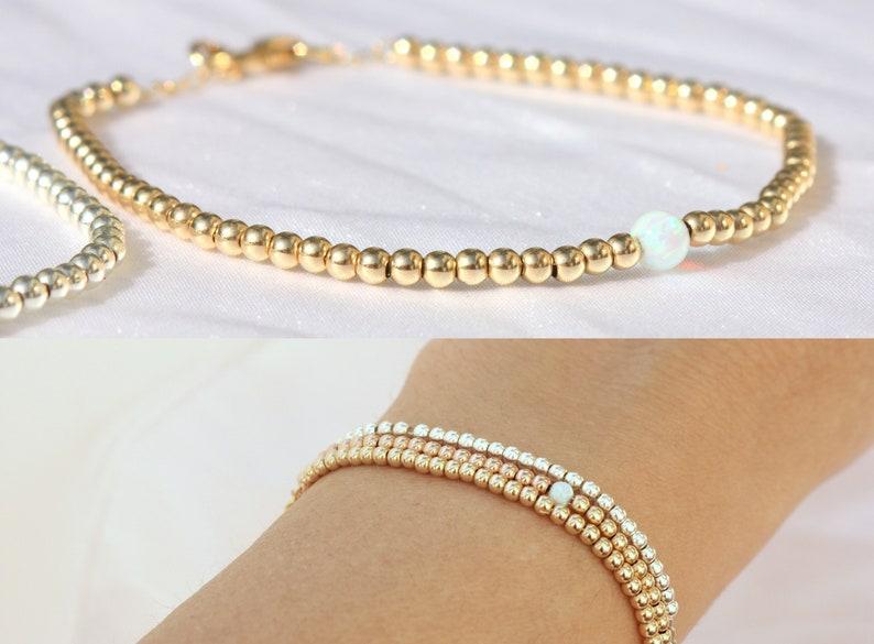 54c695703a2 14k Gold Filled Bead Ball Bracelets 2.5mm Rose Gold Filled | Etsy