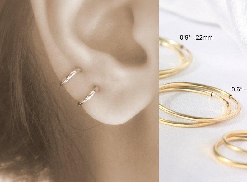 86366bd642924 Small thin gold hoop earrings - mini huggie hoop earring