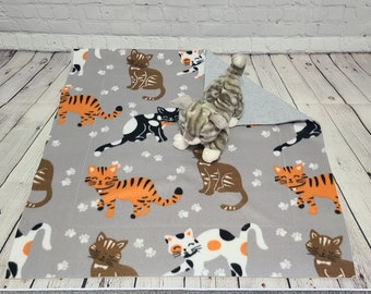 Fleece Cat Blanket - Luxury Cat Blanket - Orange, Brown & White Cats on Gray