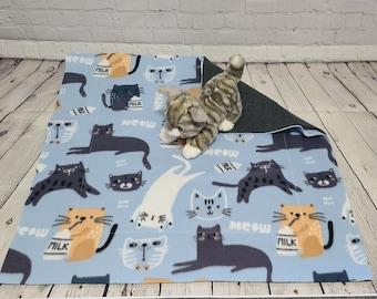 Fleece Cat Blanket - Luxury Cat Blanket - Orange, White & Gray Cats on Lt. Blue